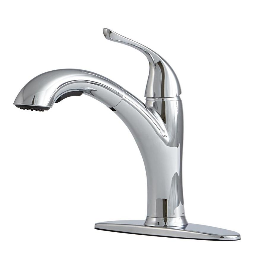Gentil Giagni Abete Polished Chrome 1 Handle Deck Mount Pull Out Kitchen Faucet
