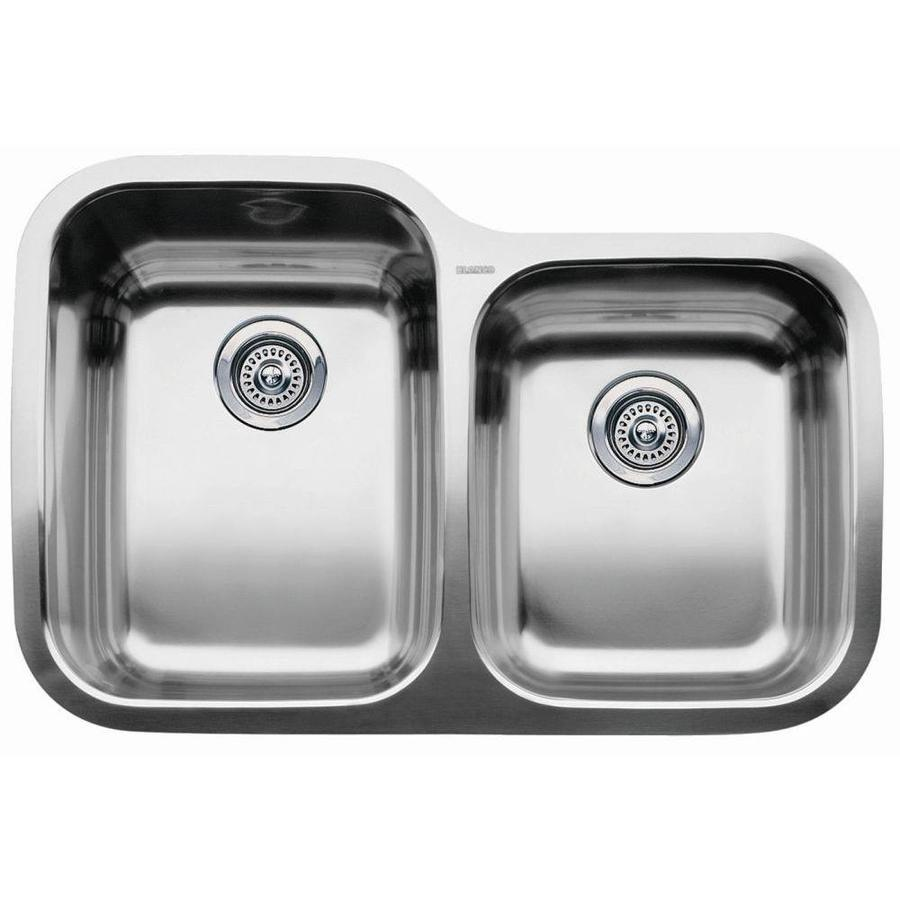 BLANCO Supreme 20.87-in x 31.31-in Double-Basin Stainless Steel Undermount Residential Kitchen Sink