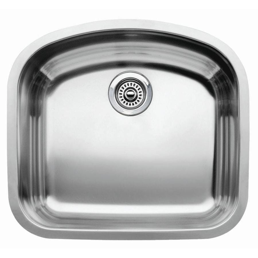 BLANCO Wave 20.43-in x 22.43-in Stainless Steel Single-Basin-Basin Stainless Steel Undermount (Customizable)-Hole Residential Kitchen Sink