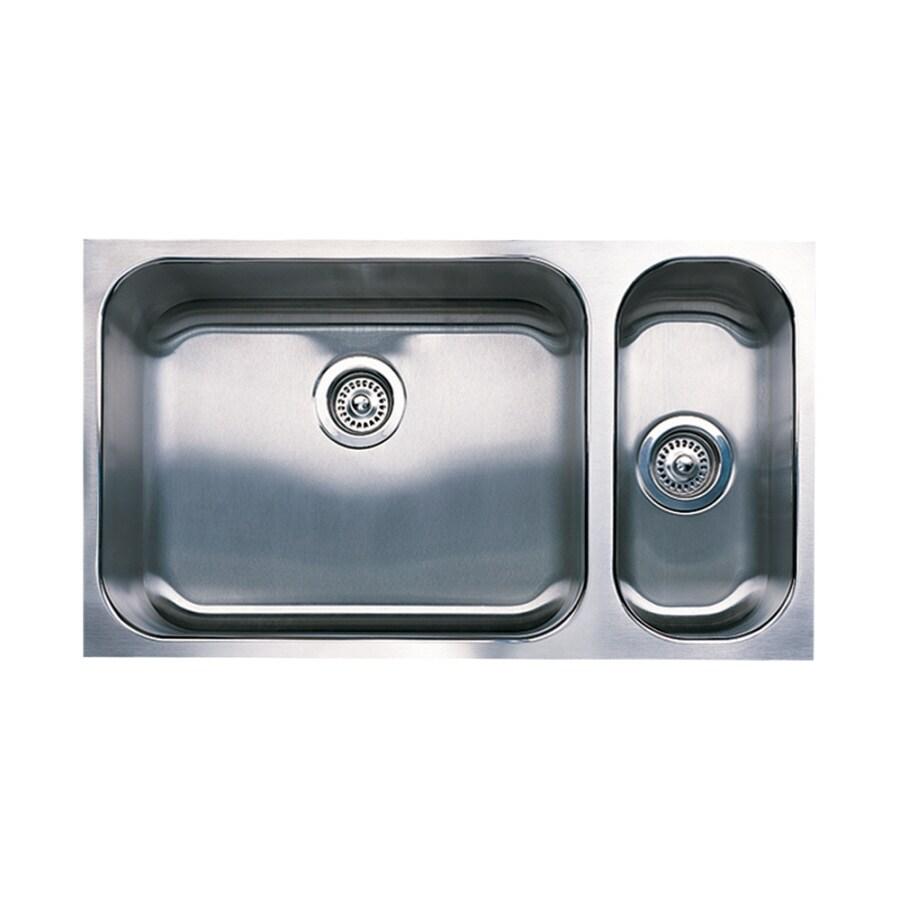 BLANCO Spex 18-in x 32-in Satin Double-Basin Undermount Residential Kitchen Sink