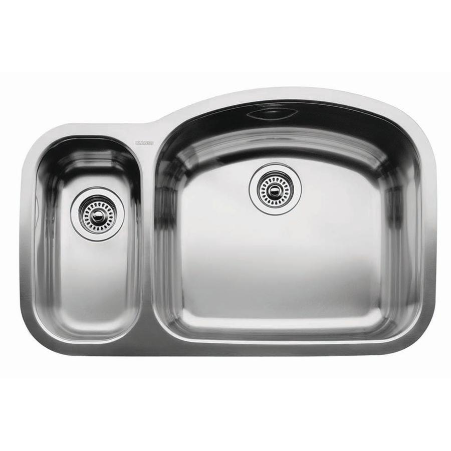 BLANCO Wave 20.87-in x 32.09-in Satin Polished Double-Basin Stainless Steel Undermount Residential Kitchen Sink