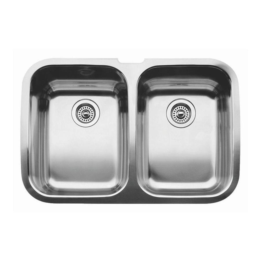 BLANCO Supreme 20.87-in x 32-in Stainless Steel Double-Basin Undermount Residential Kitchen Sink