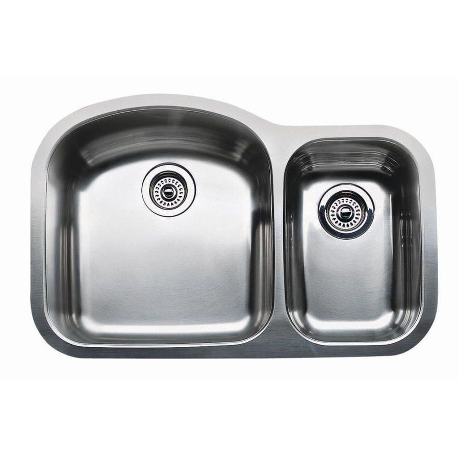 BLANCO Wave 20.87-in x 31.5-in Stainless Steel Double-Basin Undermount Residential Kitchen Sink