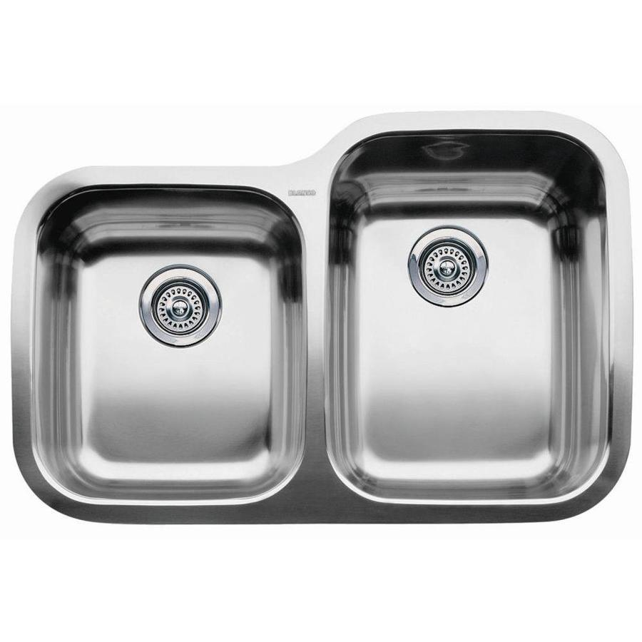 BLANCO Supreme 20.87-in x 31.31-in Stainless Steel Double-Basin Undermount Residential Kitchen Sink