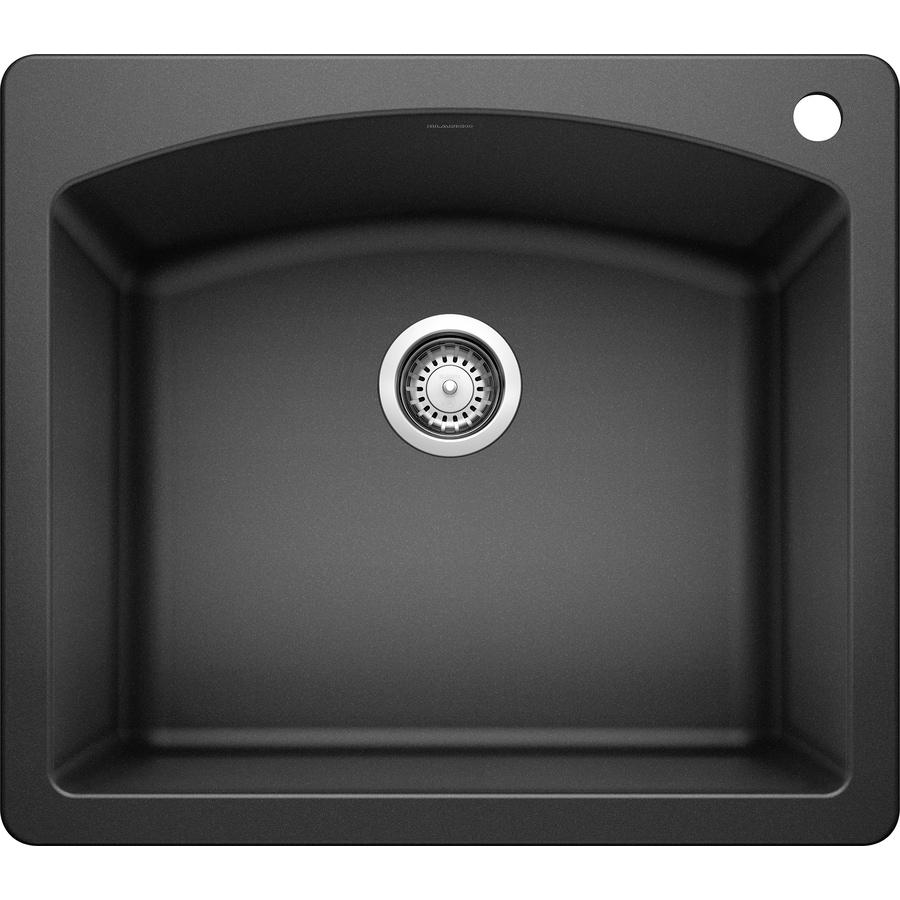 BLANCO Diamond 22-in x 25-in Anthracite Single-Basin Granite 1-Hole Residential Kitchen Sink