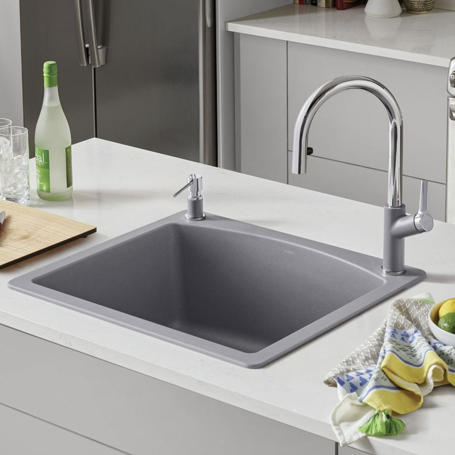BLANCO Diamond 22-in x 25-in Metallic Gray (Gray) Single-Basin Granite Drop-In 1-Hole Residential Kitchen Sink