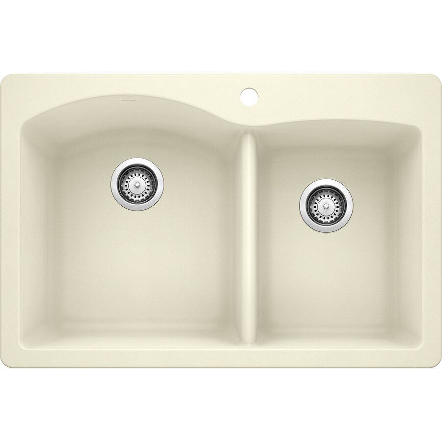 BLANCO Diamond 22-in x 33-in Biscuit (Off-white) Double-Basin Granite Undermount 1-Hole Residential Kitchen Sink