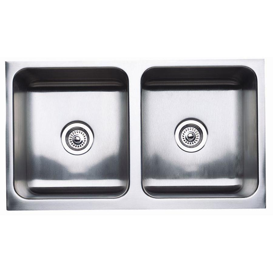 BLANCO Magnum 18.5-in x 32.0-in Satin Double-Basin Stainless Steel Apron Front/Farmhouse Residential Kitchen Sink