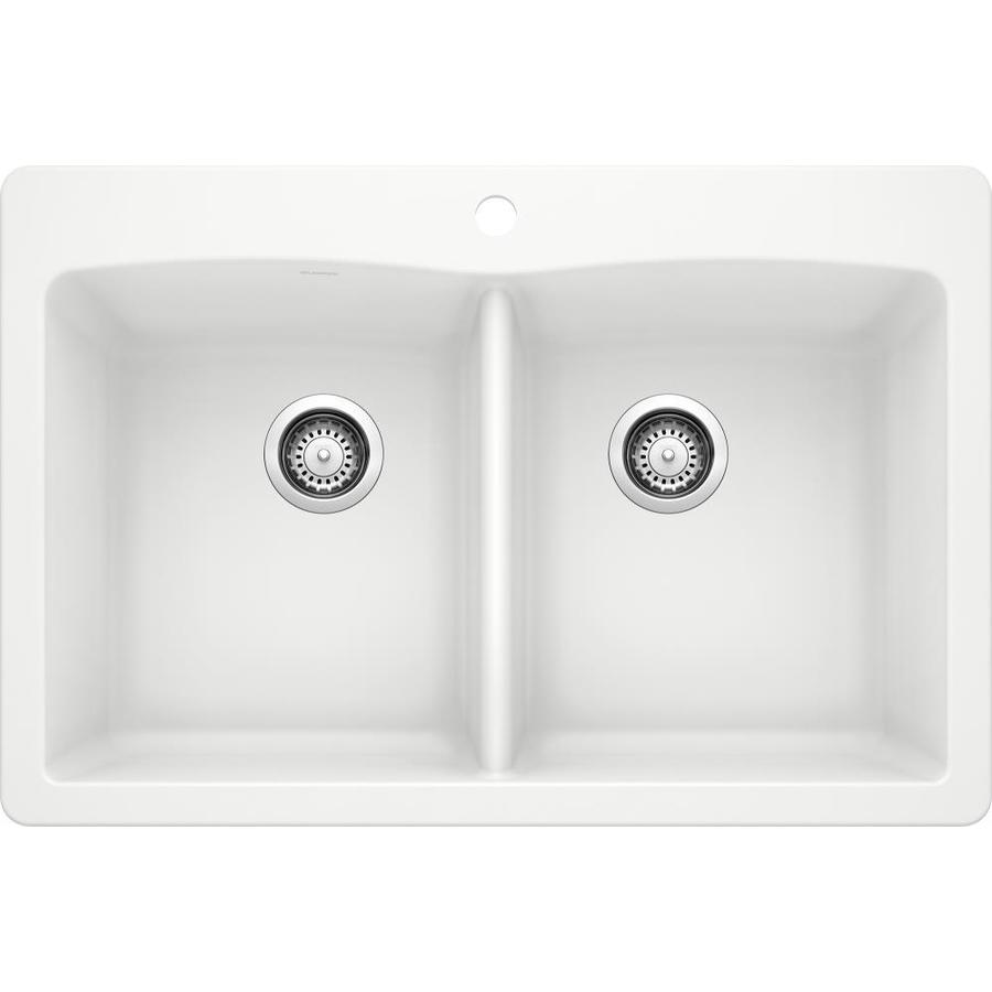 BLANCO Diamond 22.0-in x 33.0-in White Double-Basin Granite Drop-in or Undermount 1-Hole Residential Kitchen Sink