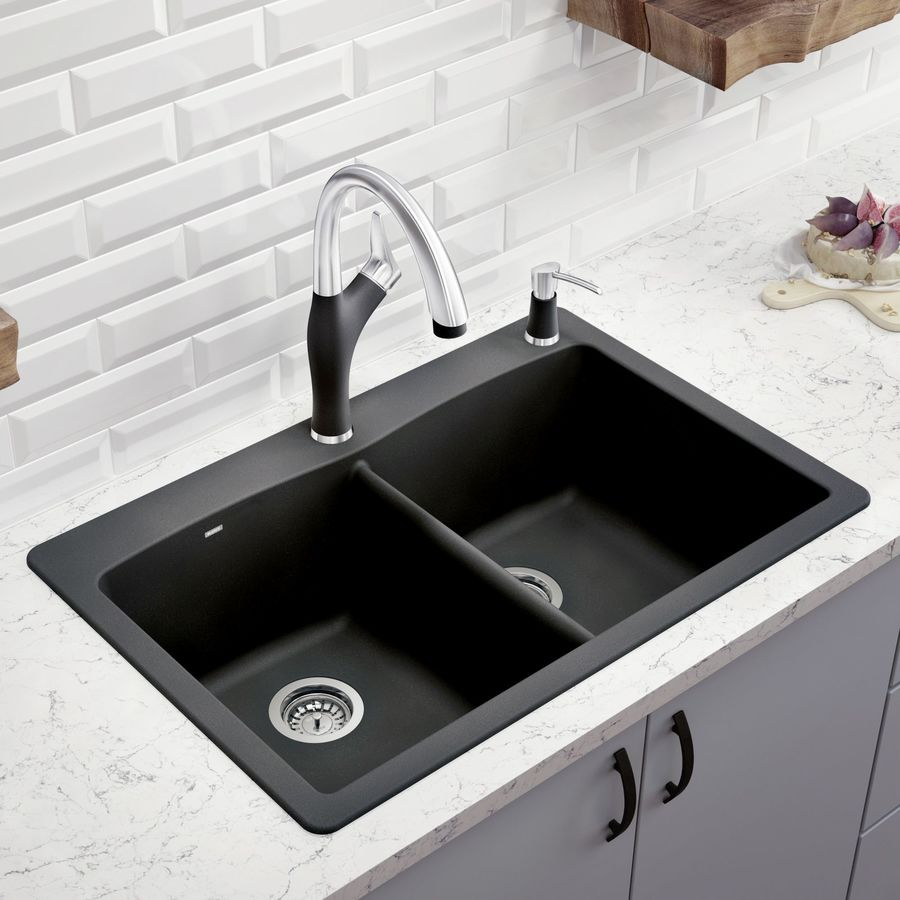 BLANCO Diamond 22.0-in x 33.0-in Anthracite Double-Basin Granite Drop-in or Undermount 1-Hole Residential Kitchen Sink