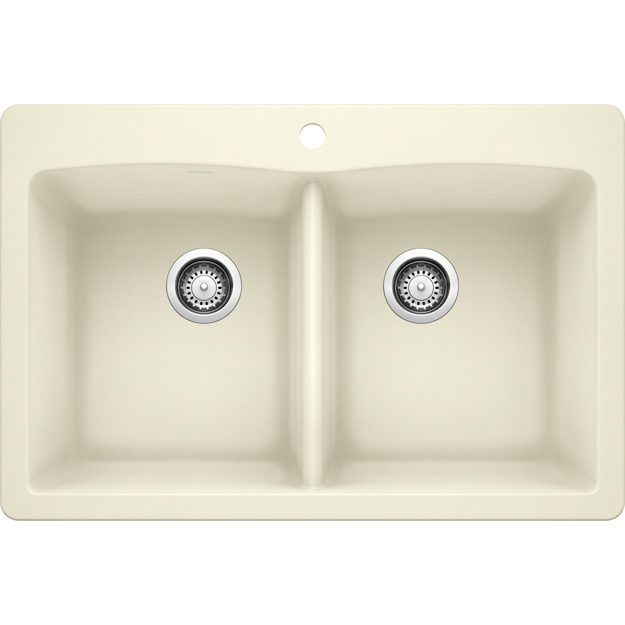 BLANCO Diamond 22-in x 33-in Biscuit (Off-white) Double-Basin Granite Drop-In 1-Hole Residential Kitchen Sink
