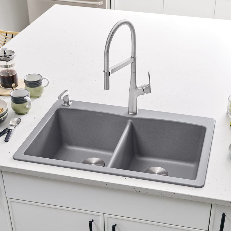 Shop BLANCO Diamond 22-in x 33-in Metallic Gray (Gray) Double-Basin ...