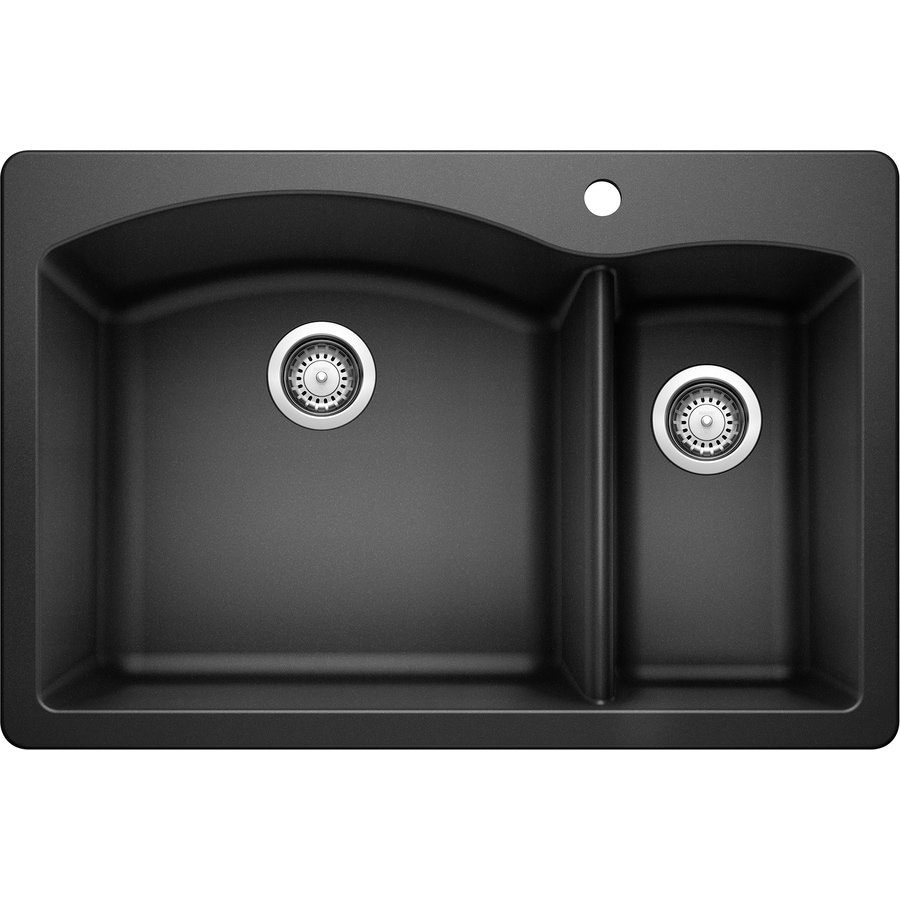 BLANCO Diamond 22-in x 33-in Anthracite Double-Basin Granite Drop-in or Undermount 1-Hole Residential Kitchen Sink