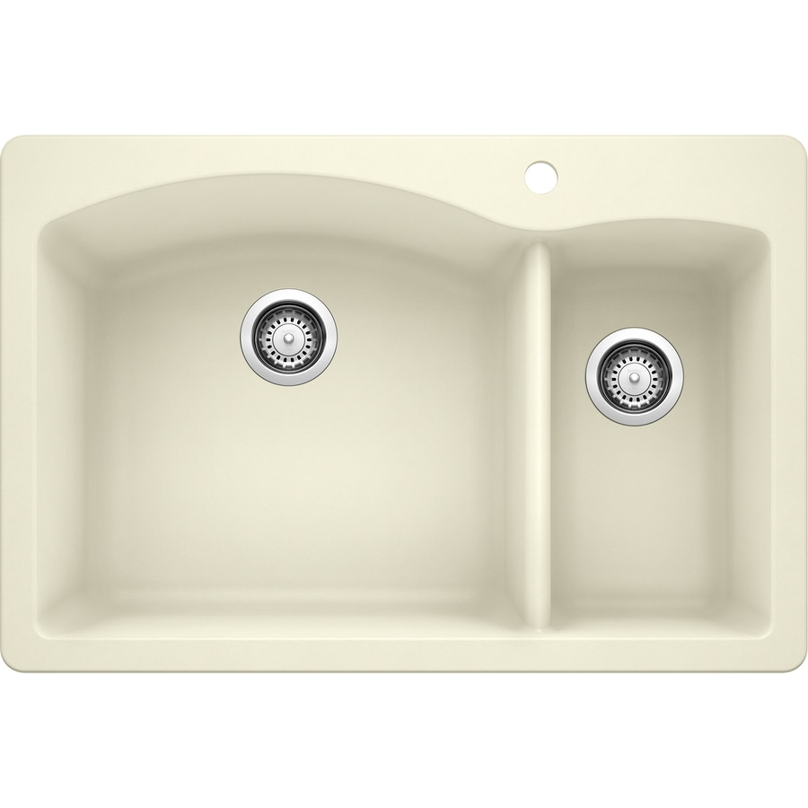 BLANCO Diamond 22-in x 33-in Biscuit Double-Basin Granite Drop-In or Undermount 1-Hole Residential Kitchen Sink