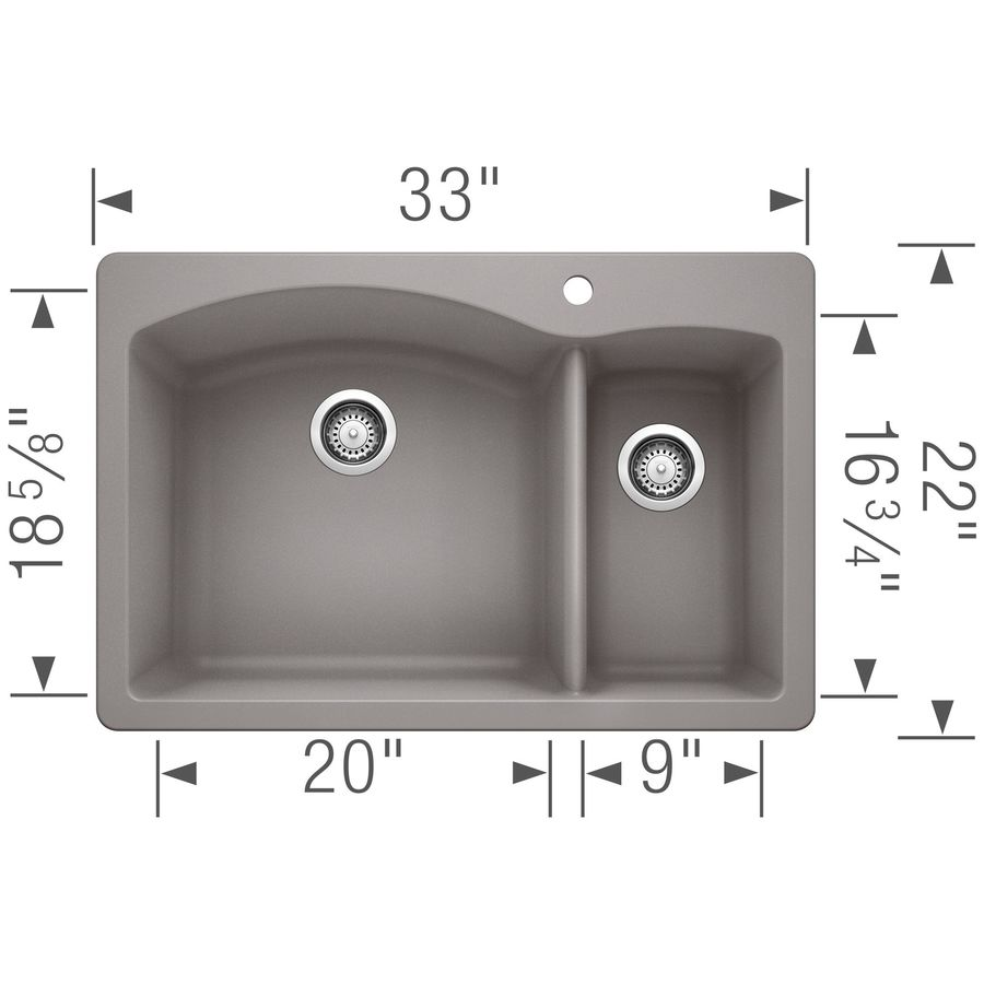 BLANCO Diamond 22-in x 33-in Metallic Gray Double-Basin Granite Drop-In or Undermount 1-Hole Residential Kitchen Sink