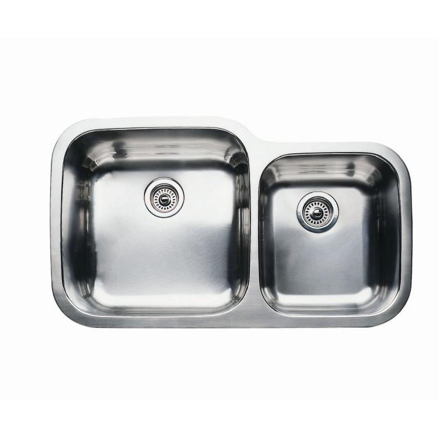 BLANCO Supreme 20.875-in x 35.437-in Satin Double-Basin Stainless Steel Undermount Residential Kitchen Sink