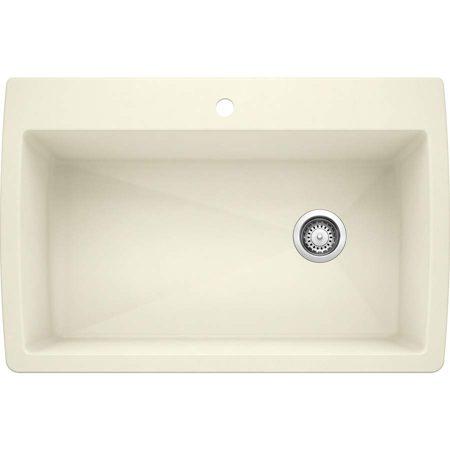BLANCO Diamond 22-in x 33.5-in Biscuit Single-Basin Granite Drop-in or Undermount 1-Hole Residential Kitchen Sink