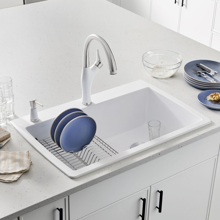 BLANCO Diamond 22-in x 33.5-in White Single-Basin Granite Drop-In 2-Hole Residential Kitchen Sink