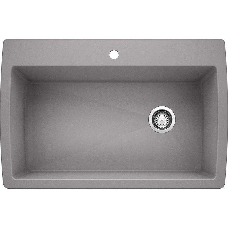 BLANCO Diamond 22-in x 33.5-in Metallic Gray Single-Basin Granite Drop-In 1-Hole Residential Kitchen Sink