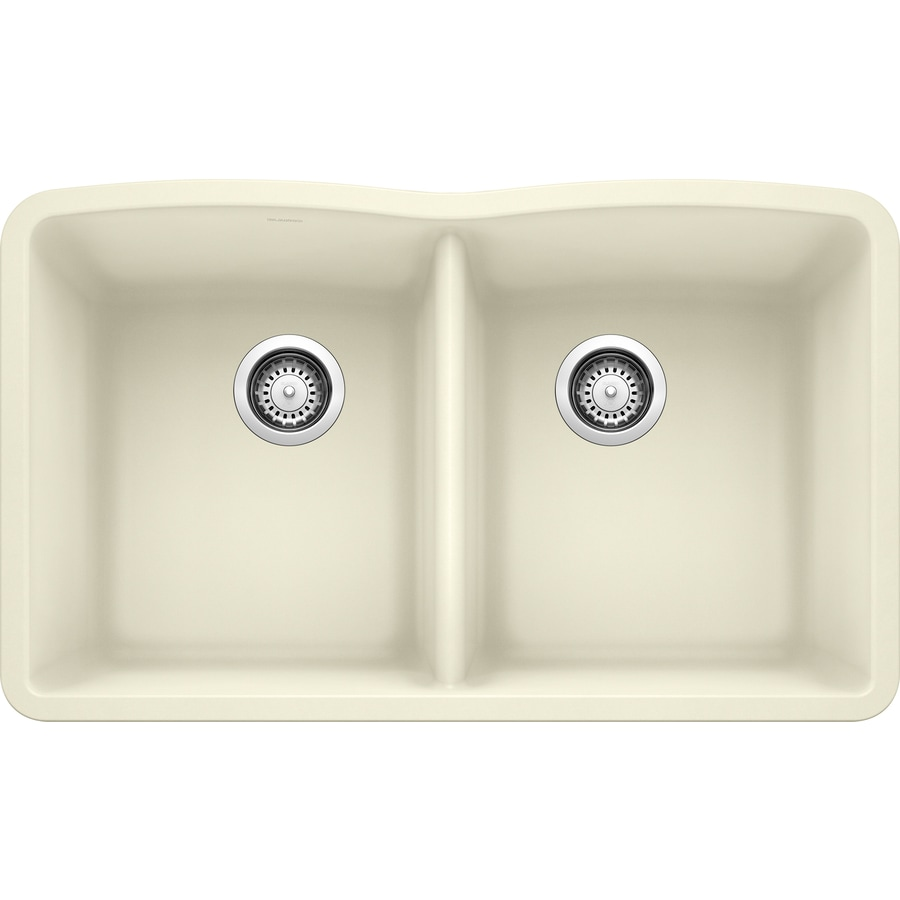 BLANCO Diamond 19.25-in x 32.0-in Biscuit Double-Basin Granite Undermount Residential Kitchen Sink