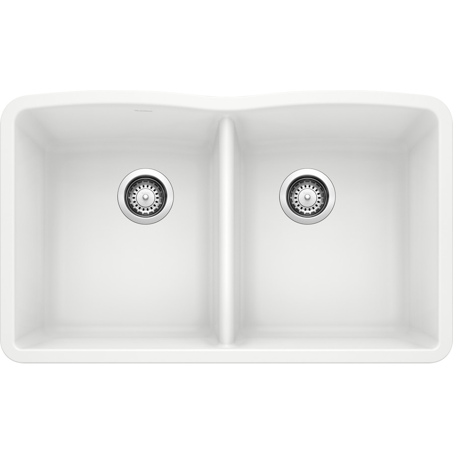 BLANCO Diamond 19.25-in x 32-in White Single-Basin-Basin Granite Undermount (Customizable)-Hole Residential Kitchen Sink