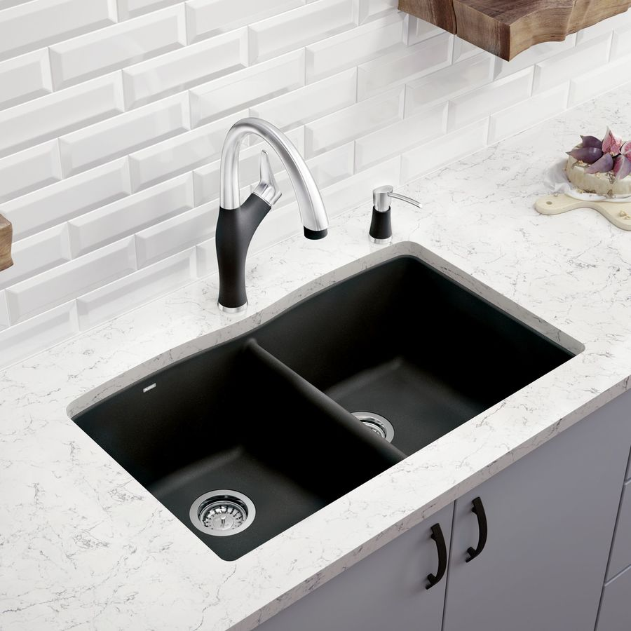 BLANCO Diamond 19.25-in x 32.0-in Anthracite Double-Basin Granite Undermount Residential Kitchen Sink