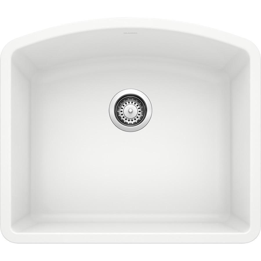 BLANCO Diamond 20.8130-in x 24-in White Single-Basin Granite Undermount Residential Kitchen Sink