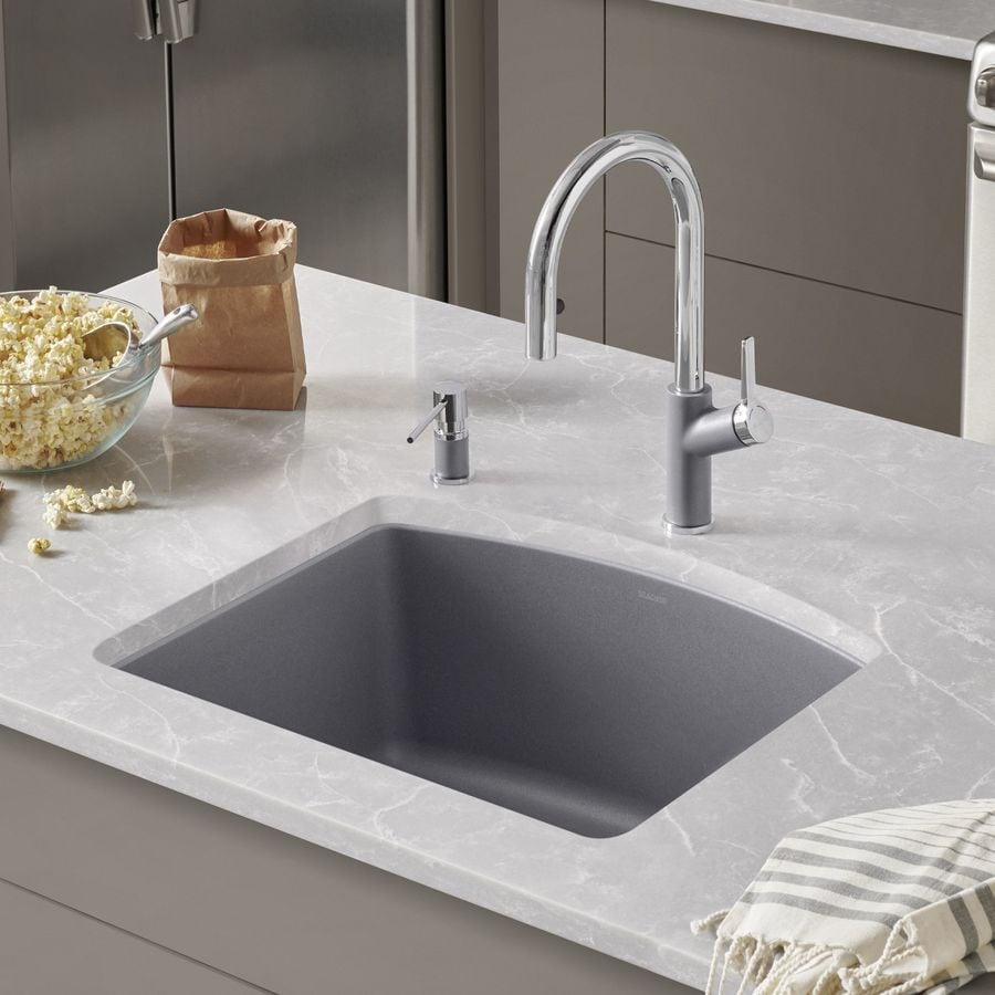 BLANCO Diamond 20.813-in x 24-in Metallic Gray Single-Basin-Basin Granite Undermount (Customizable)-Hole Residential Kitchen Sink