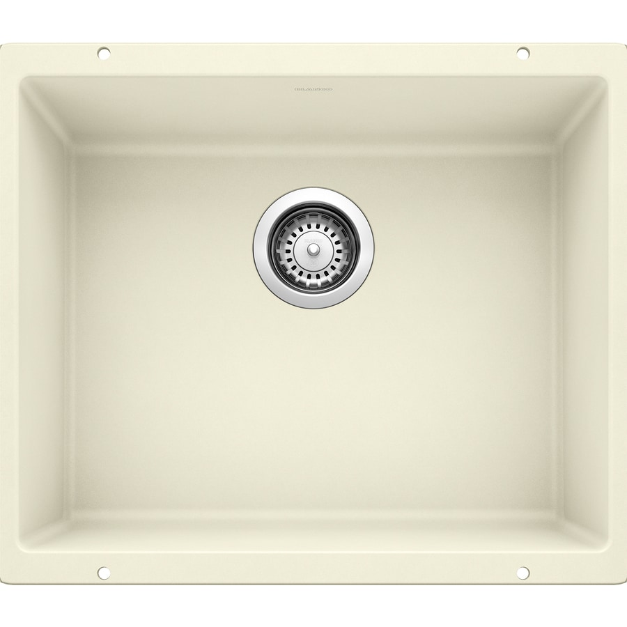 BLANCO Precis 20.87-in x 18.11-in Biscuit Single-Basin Granite Undermount Residential Kitchen Sink