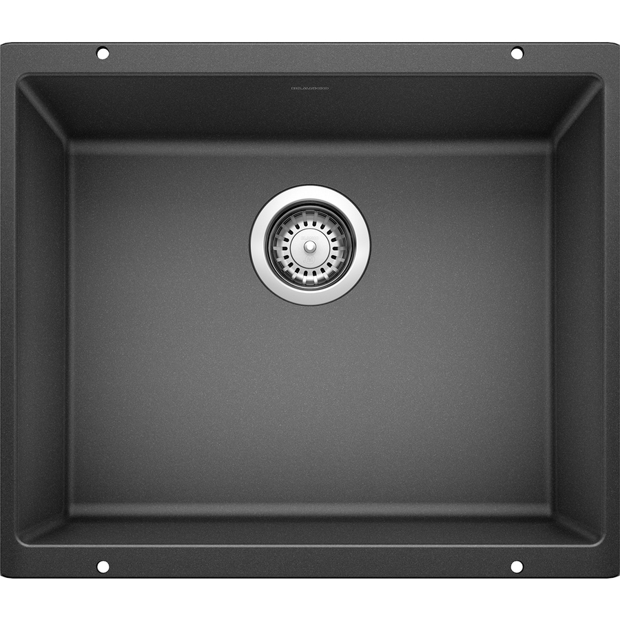 BLANCO Precis 20.87-in x 18.11-in Anthracite (Black) Single-Basin Granite Undermount Residential Kitchen Sink
