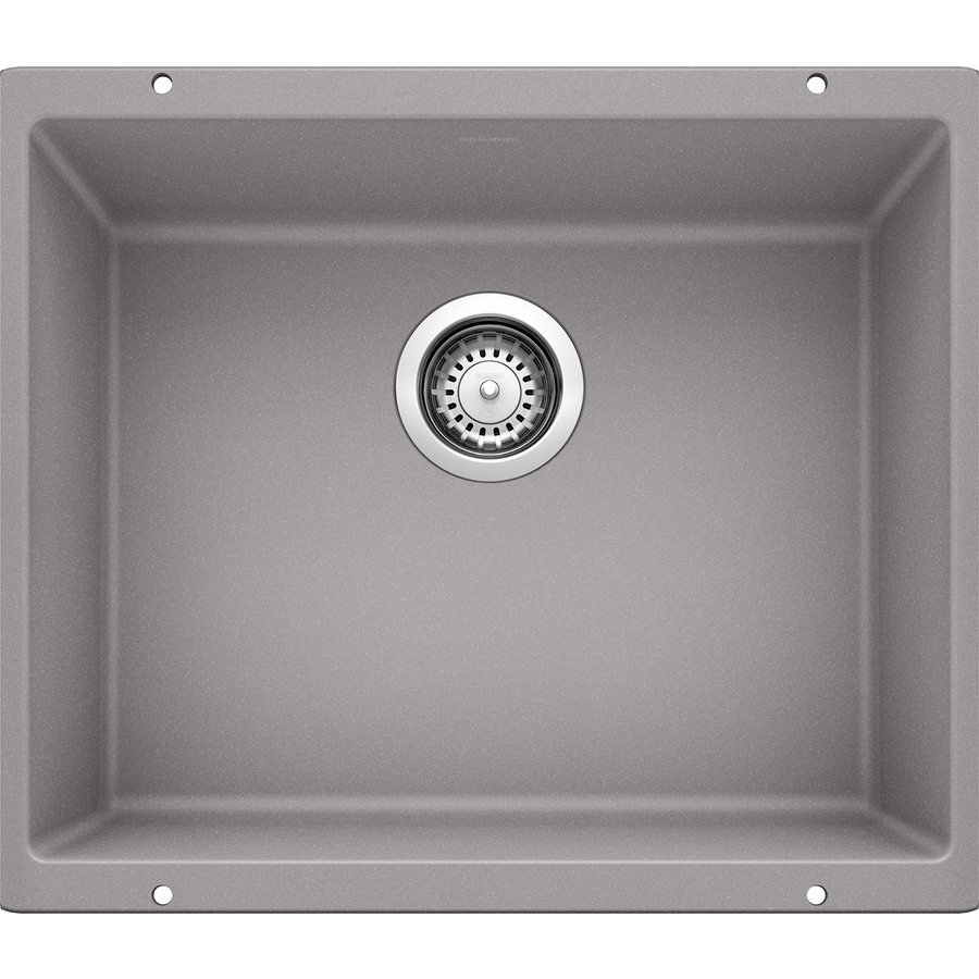 BLANCO Precis 20.87-in x 18.11-in Metallic Gray (Gray) Single-Basin Granite Undermount Residential Kitchen Sink