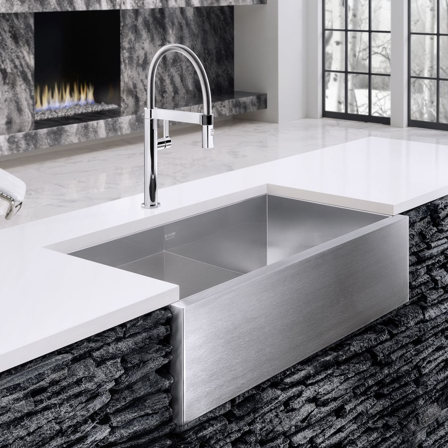 BLANCO Precision 19.5-in x 32-in Satin Polished Single-Basin Apron Front/Farmhouse Residential Kitchen Sink