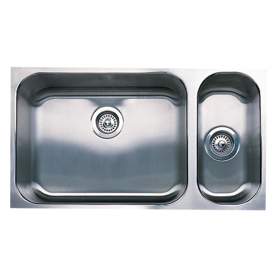 BLANCO Spex Plus 16-in x 32-in Satin Double-Basin Undermount Residential Kitchen Sink