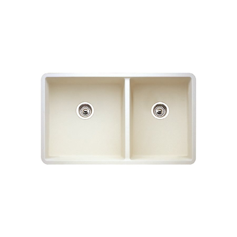 BLANCO Biscuit Double Basin Composite Granite Undermount Kitchen Sink