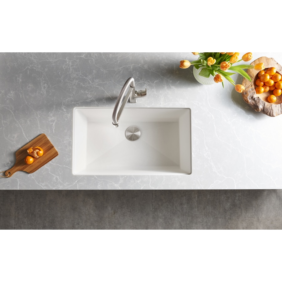 white undermount single bowl kitchen sink shop blanco precis 18 75 in x 32 in white single basin 2117