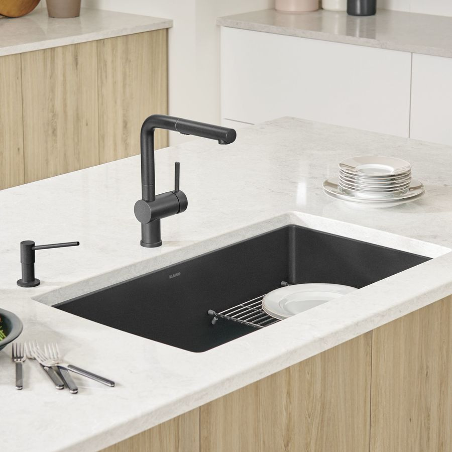 BLANCO Precis 18.75-in x 32-in Anthracite Single-Basin Granite Undermount Residential Kitchen Sink