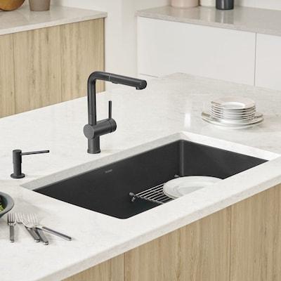 Precis 32 In X 19 Anthracite Black Single Bowl Undermount Residential Kitchen Sink
