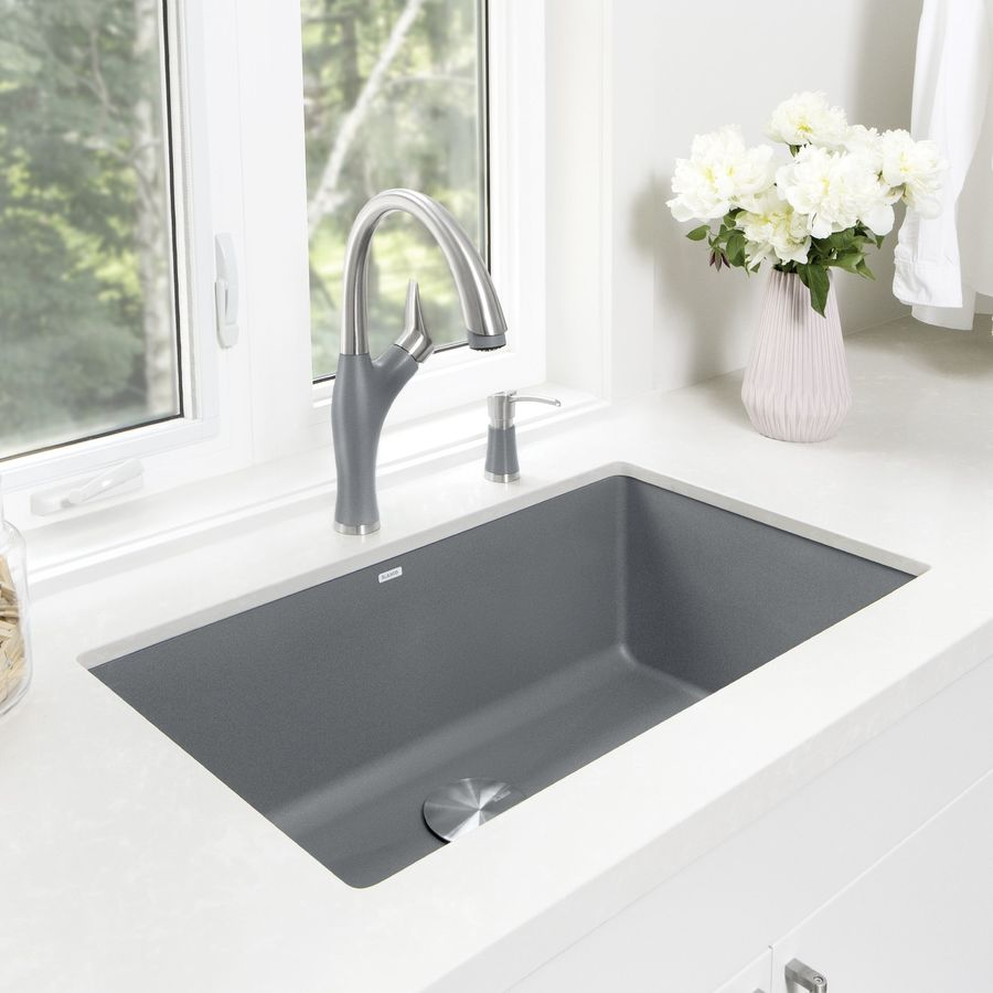BLANCO Precis 18.75-in x 32.0-in Metallic Gray Single-Basin Granite Undermount Residential Kitchen Sink
