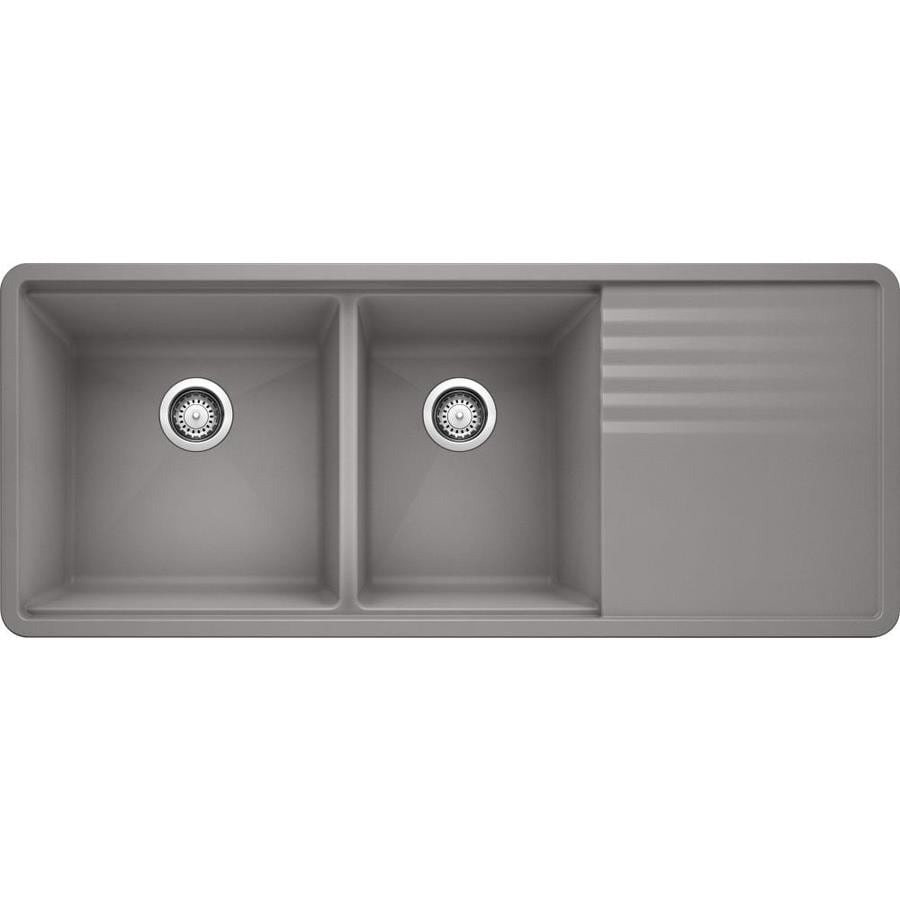 BLANCO Precis 20-in x 48-in Metallic Gray Double-Basin Granite Undermount Residential Kitchen Sink Drainboard Included