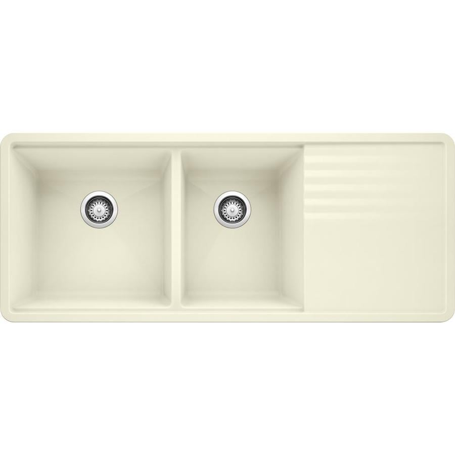 BLANCO Precis 20-in x 48-in Biscuit Double-Basin Granite Undermount Residential Kitchen Sink with Drainboard