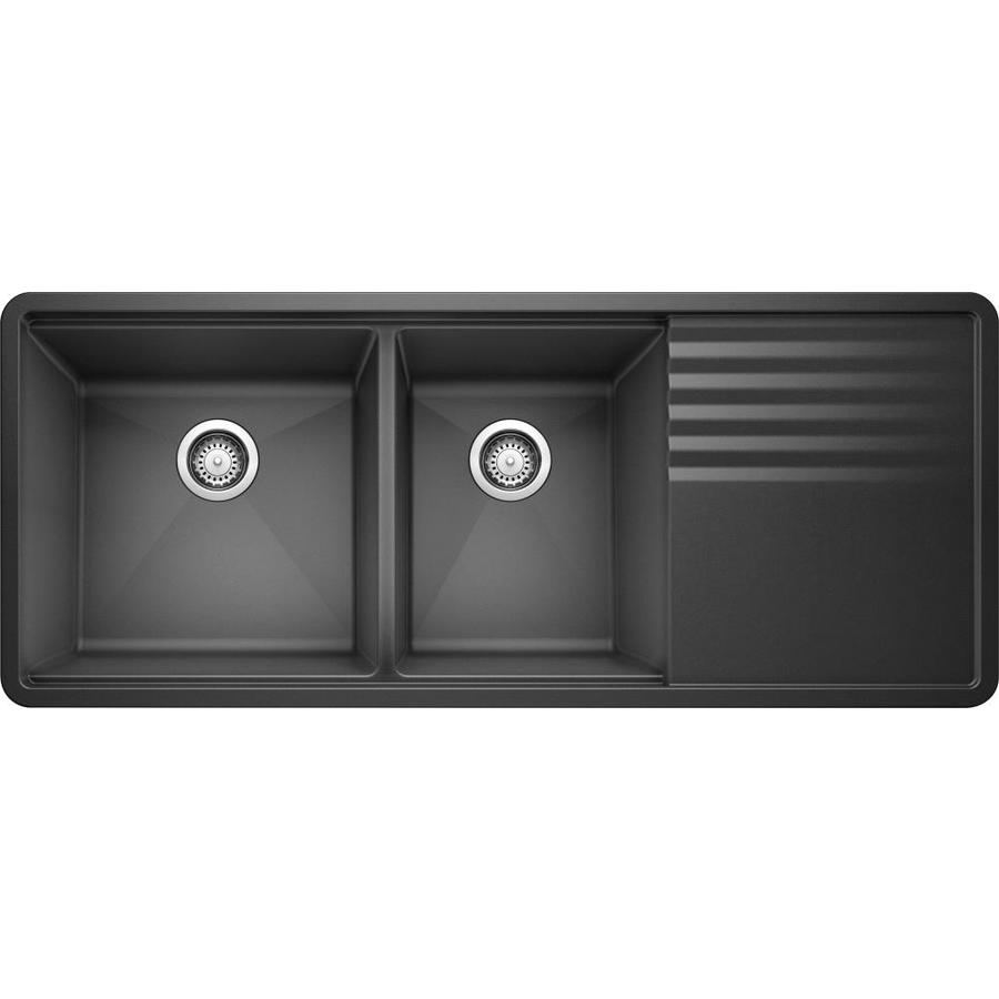 BLANCO Precis 20-in x 48-in Anthracite Double-Basin Granite Undermount ...
