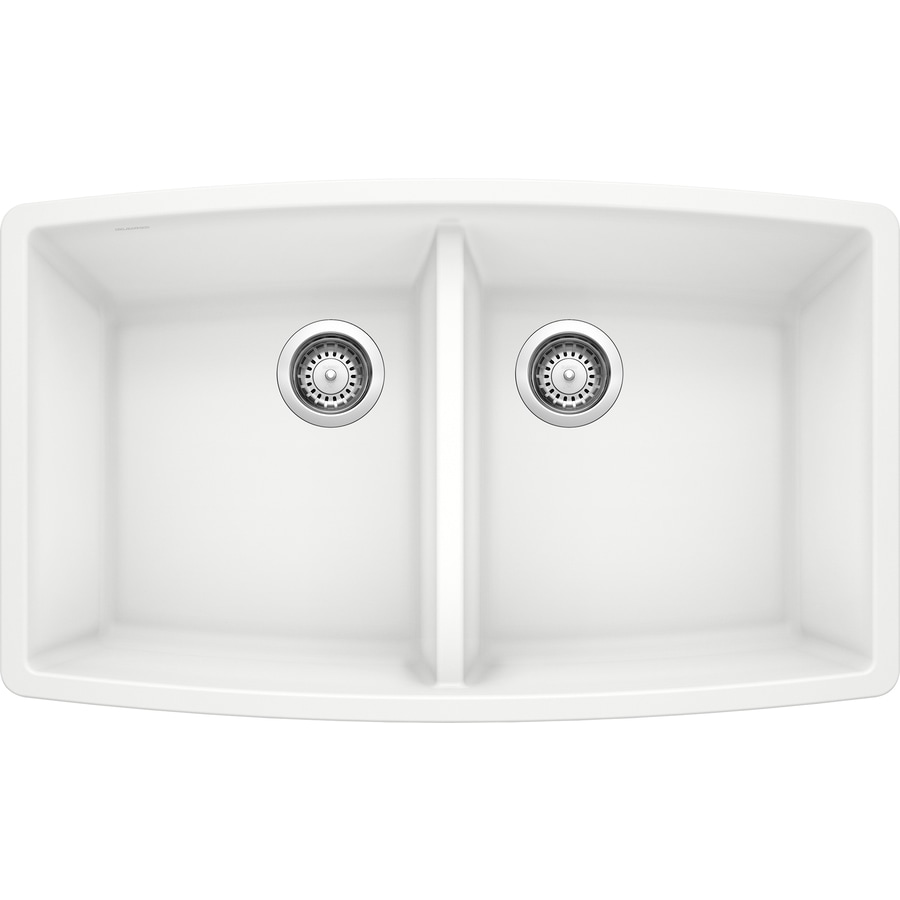 BLANCO Performa 20-in x 33-in White Double-Basin Granite Undermount Residential Kitchen Sink