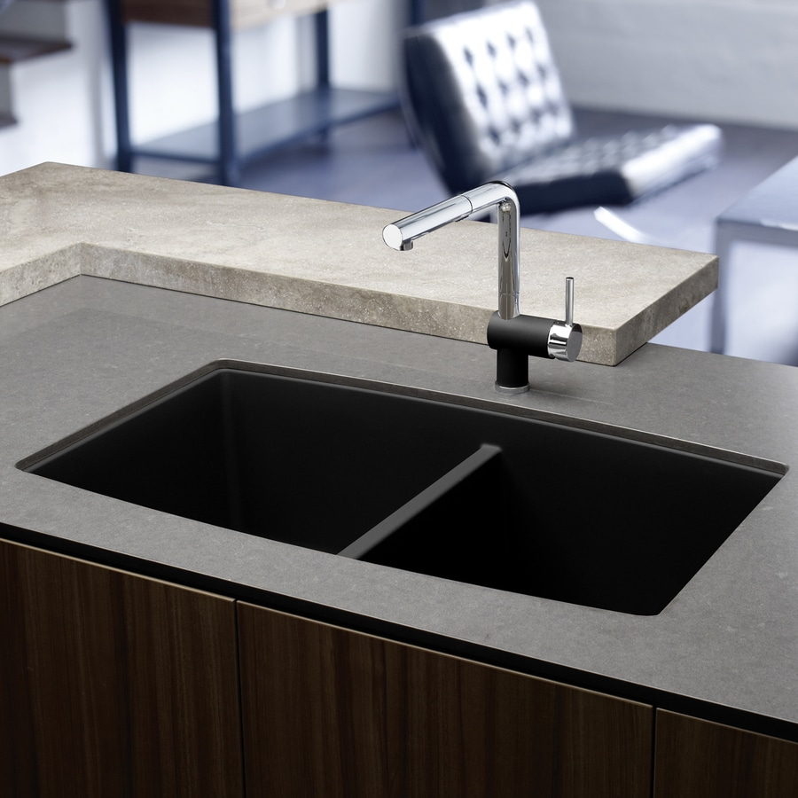 BLANCO Performa 20-in x 33-in Anthracite (Black) Double-Basin Granite Undermount Residential Kitchen Sink