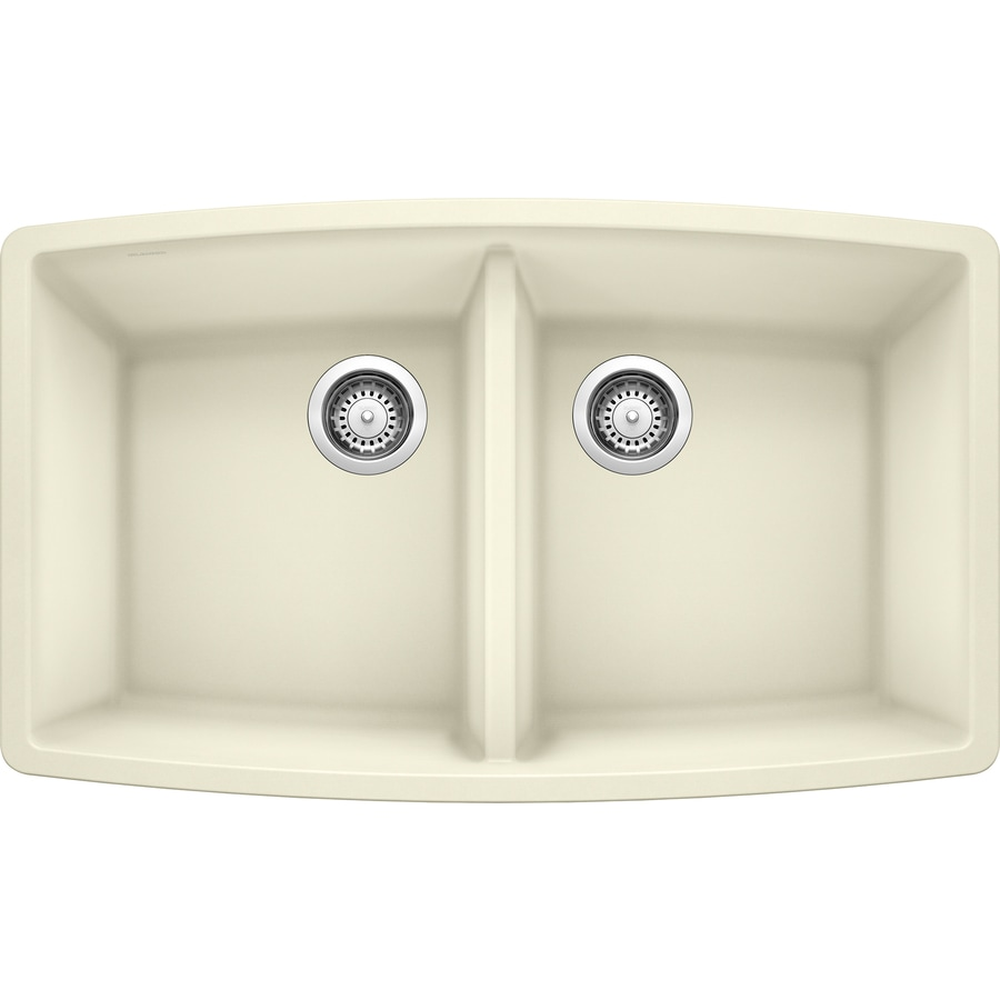 BLANCO Performa 20-in x 33-in Biscuit Double-Basin Granite Undermount Residential Kitchen Sink