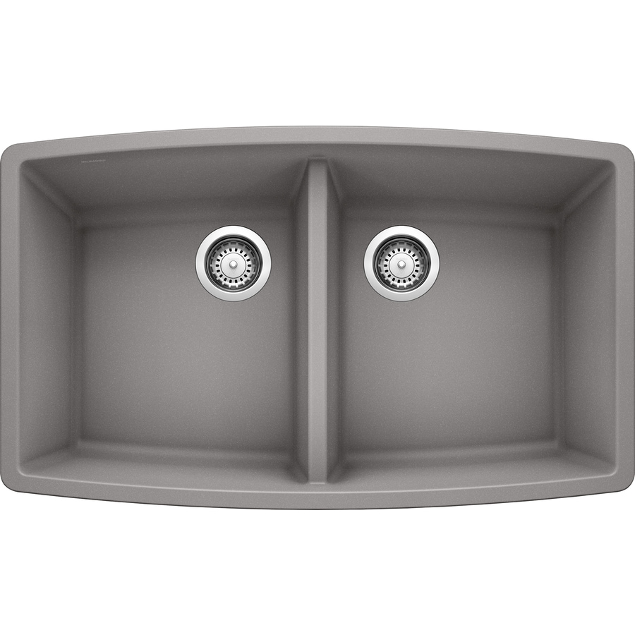 BLANCO Performa 20-in x 33-in Metallic Gray (Gray) Double-Basin Granite Undermount Residential Kitchen Sink