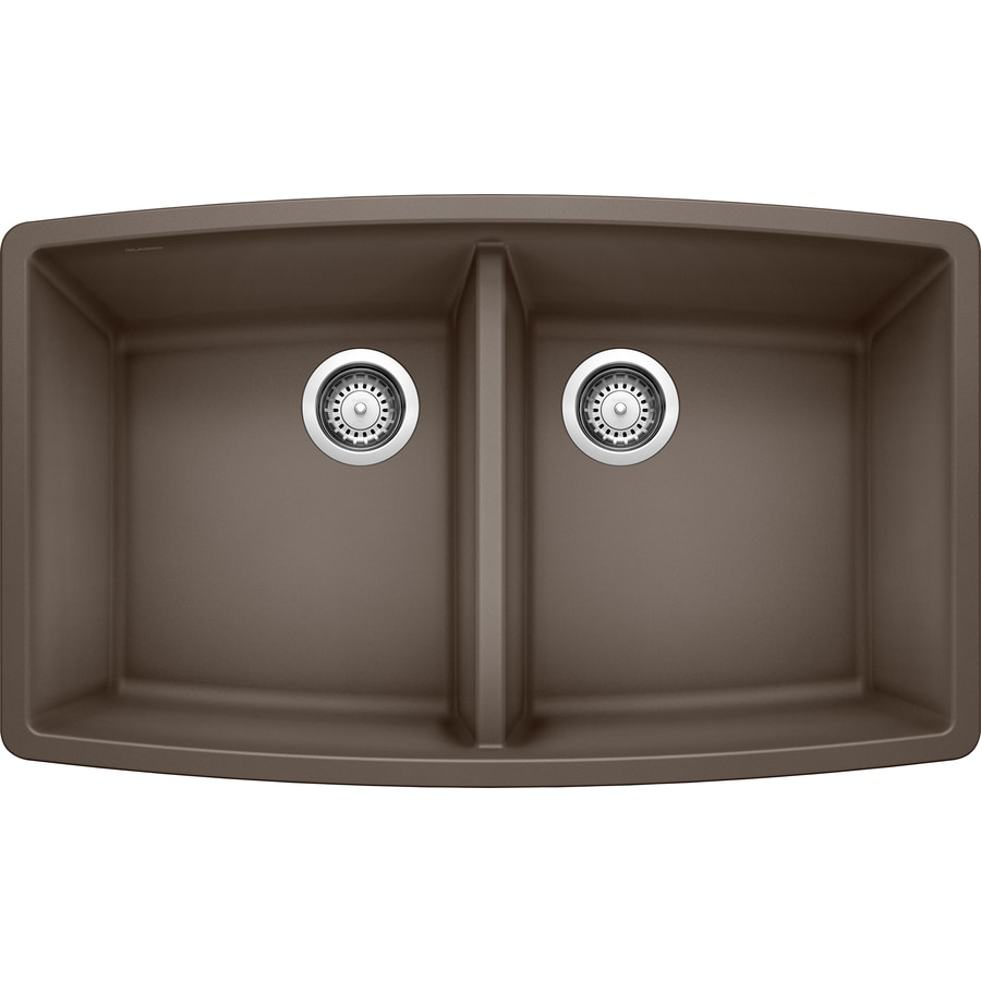 BLANCO Performa 20-in x 33-in Cafe Brown Double-Basin Granite Undermount Residential Kitchen Sink