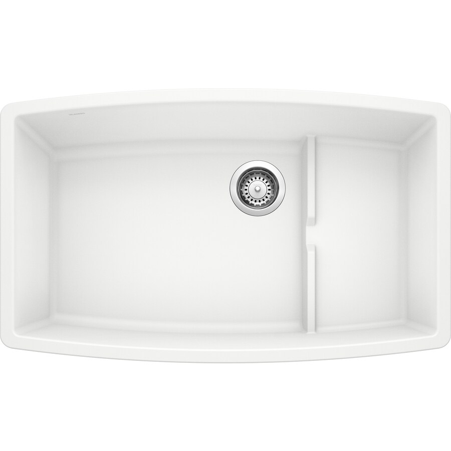 white undermount single bowl kitchen sink shop blanco performa 19 5 in x 32 in white single basin 2117
