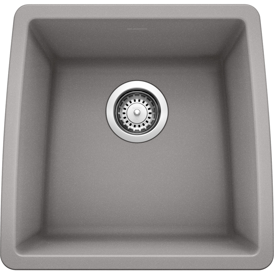 BLANCO Performa 17-in x 17.5-in Metallic Gray Single-Basin-Basin Granite Undermount (Customizable)-Hole Residential Kitchen Sink
