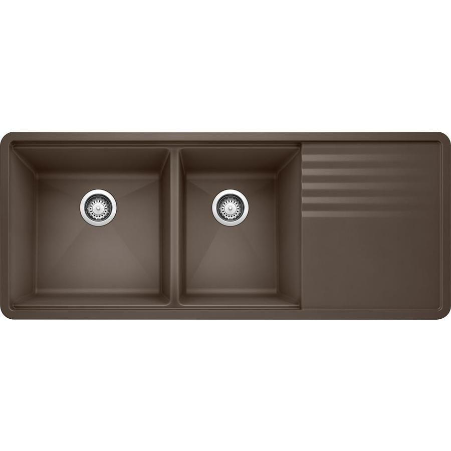 BLANCO Precis 20-in x 48-in Cafe Brown Double-Basin Granite Undermount Residential Kitchen Sink