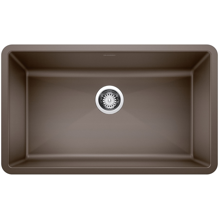 BLANCO Precis 18.75-in x 32.0-in Cafe Brown Single-Basin Granite Undermount Residential Kitchen Sink